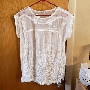 Sundance white sheer embroidered cap sleeve tank